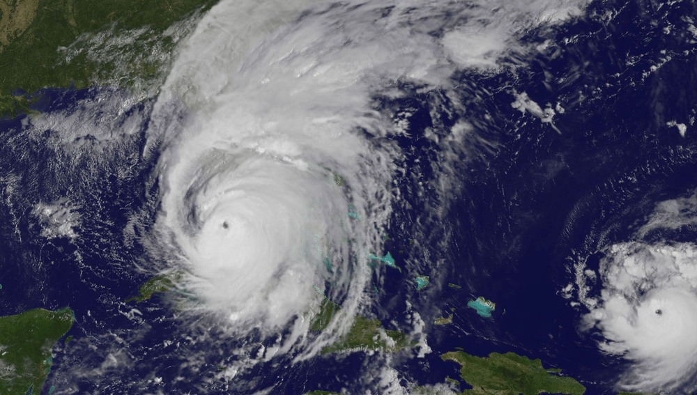 A visible satellite image of Hurricane Irma as it nears landfall in southern Florida on September 10, 2017.