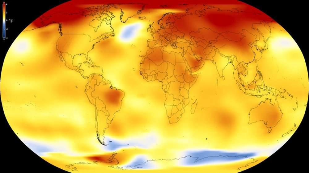 A map from NASA illustrates average global temperature records increasing over time.