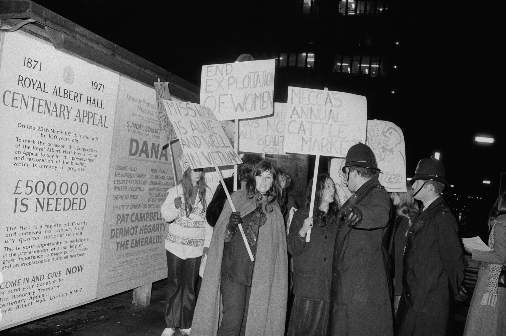 Members of the Women's Liberation Movement protest against the Miss World Beauty Pageant outside the Royal Albert Hall(Getty)