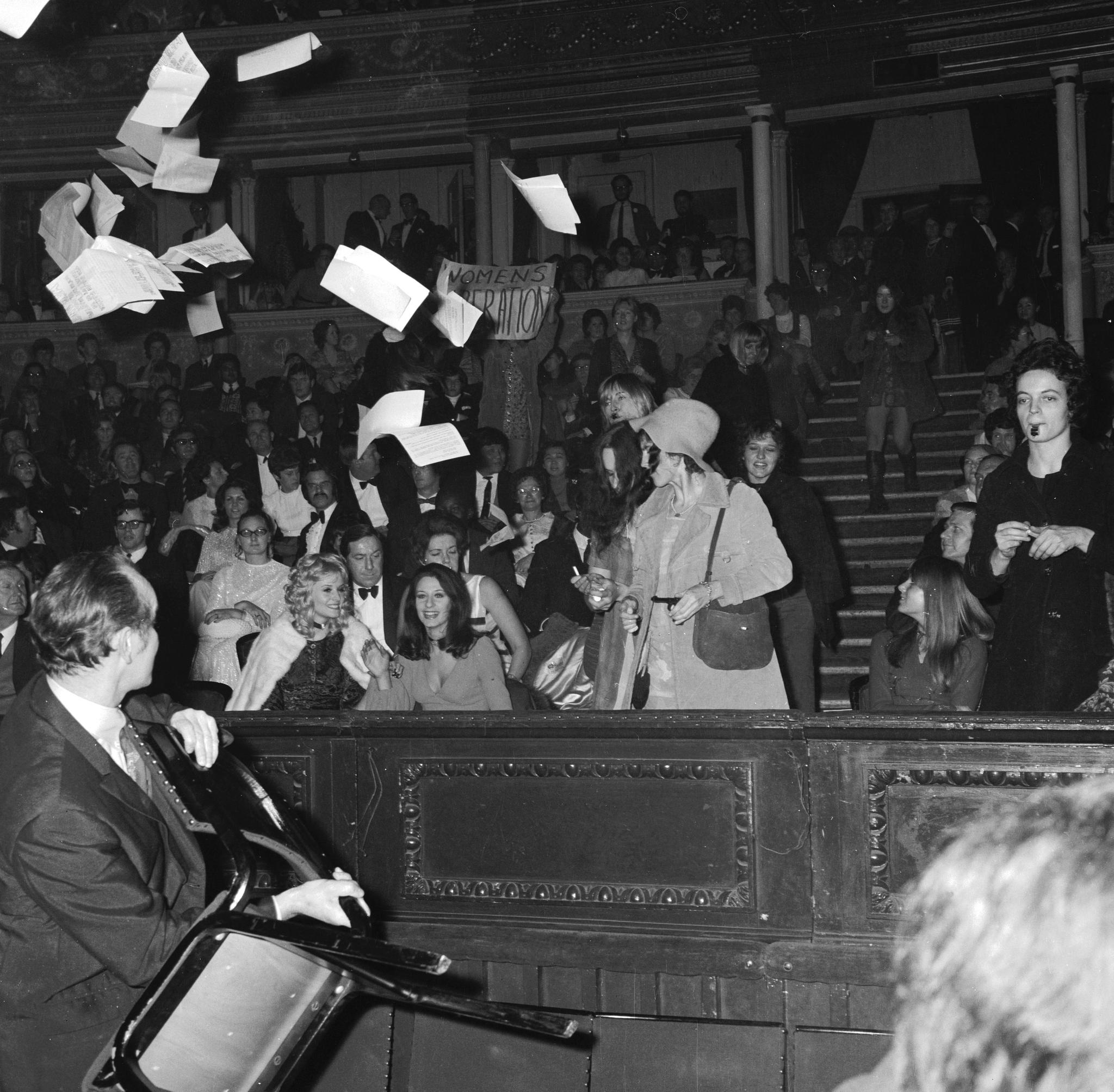 Demonstrators inside the Royal Albert Hall during the 1970 Miss World contest(Getty)