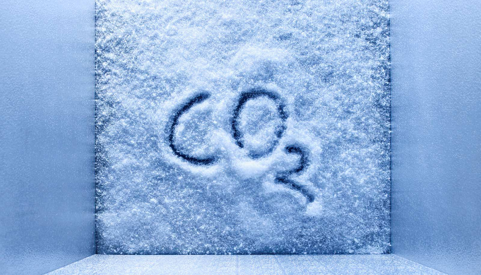 """CO2"" written in frost - breast cancer treatment concept"