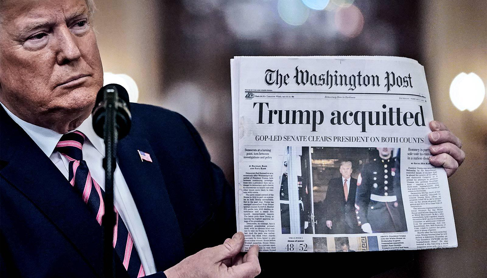 "Donald Trump holds up a newspaper with the headline ""Trump acquitted"""