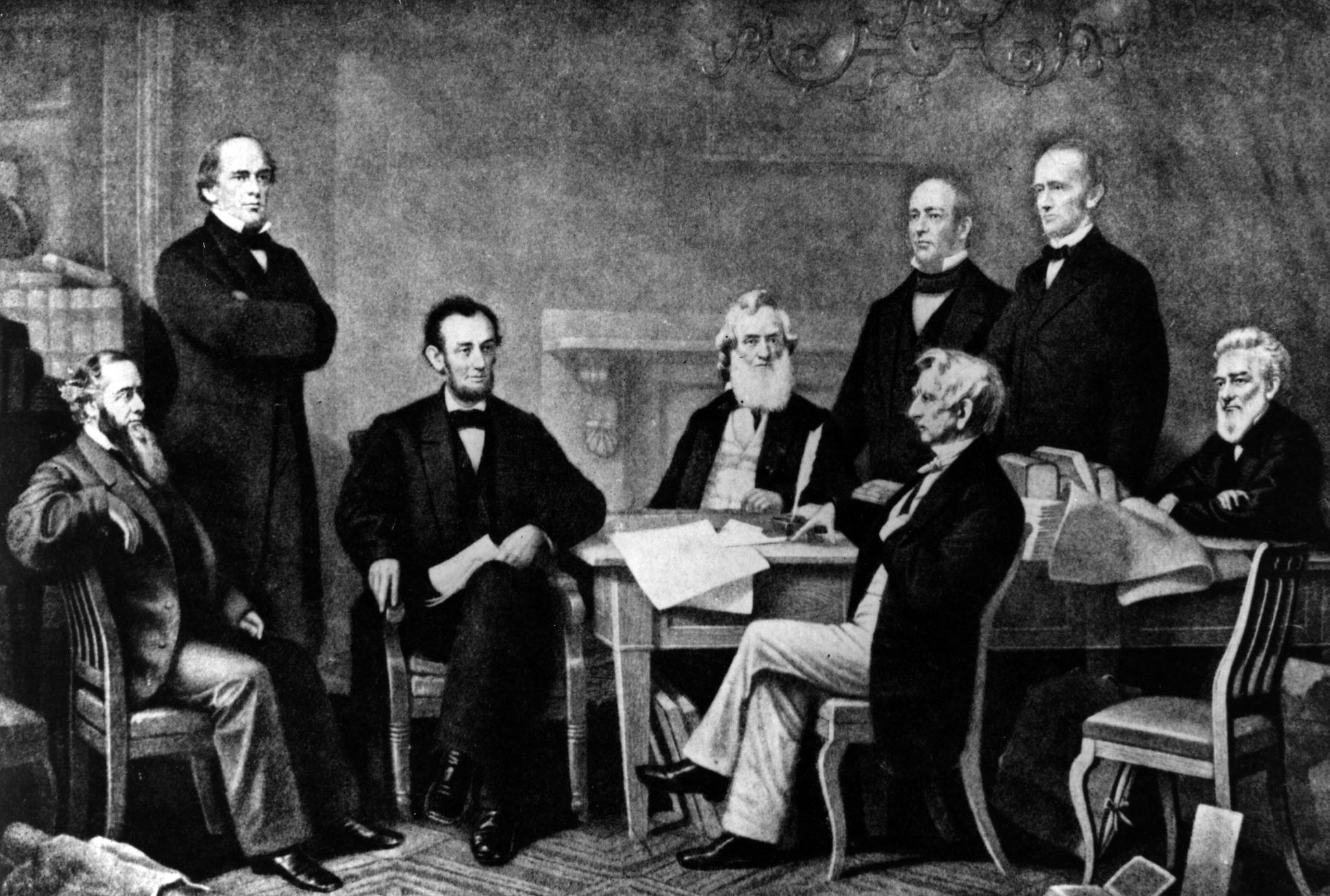 Abraham Lincoln, the 16th President of the United States of America, at the signing of the Emancipation Proclamation.