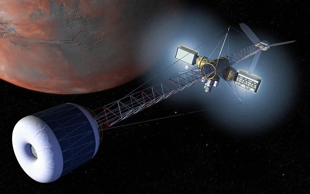 Artist's rendering of a Mars artificial gravity transfer vehicle