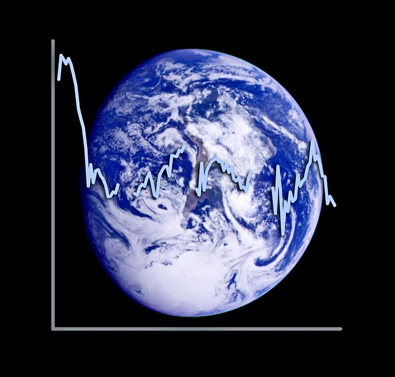 Earth and the albedo plotted over it