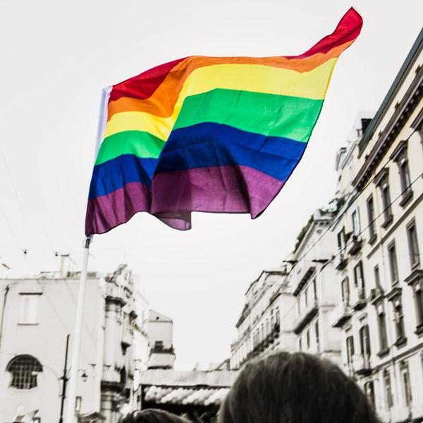 In Support of Gay Rights and All Human Rights, by Nejoud Al-Yagout. Photograph of lgbtq flag by Sara Rampazzo