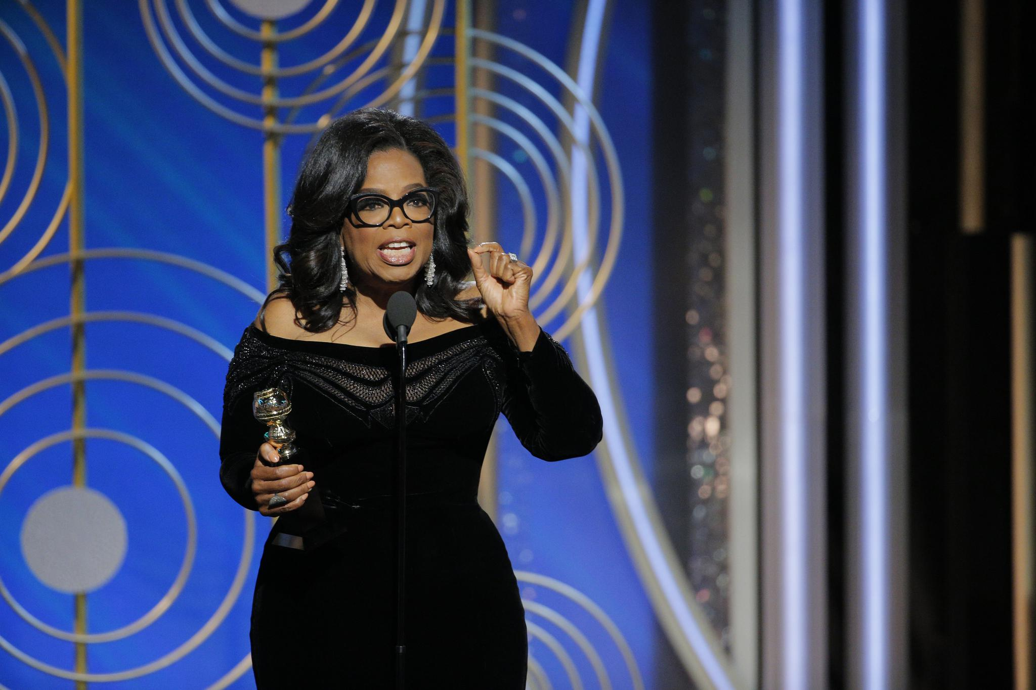 Oprah Winfrey accepts the 2018 Cecil B. DeMille Award speaks onstage during the 75th Annual Golden Globe Awards.