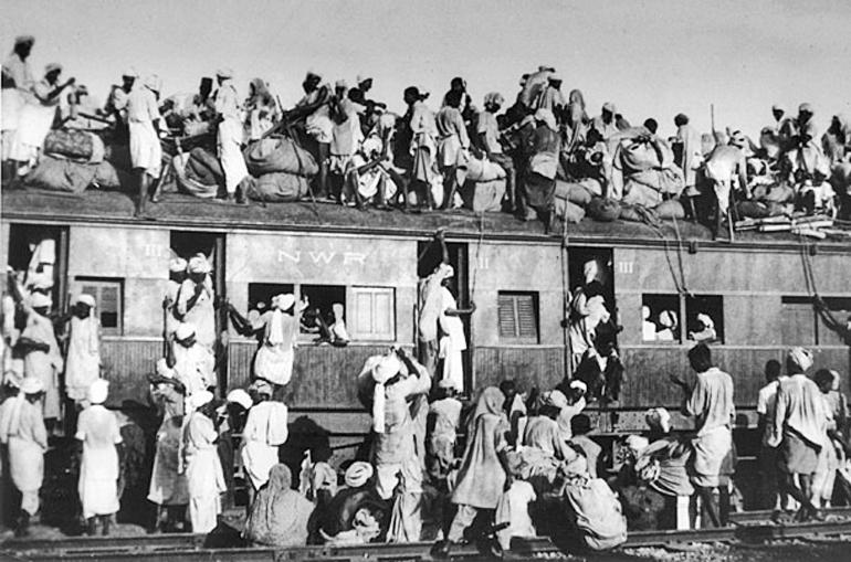refugees board train in punjab during partition