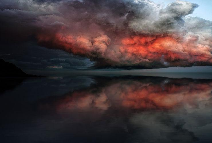 Worry vs. Mindfulness: A Life Lesson by Judy Marano. Photograph of a storm passing over the ocean by Johanes Plenio