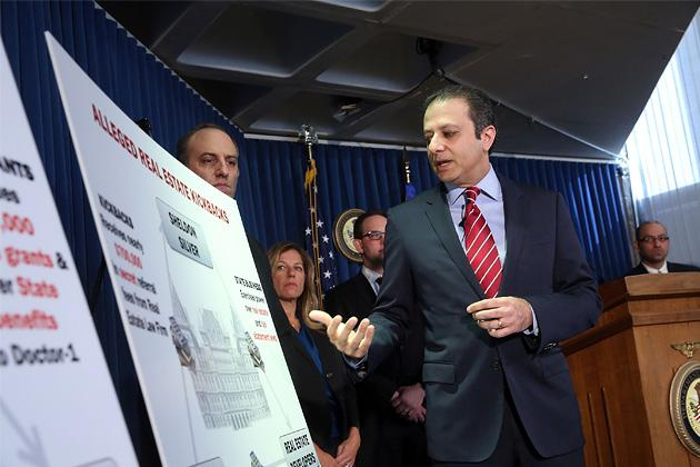 Preet Bharara, then U.S. attorney for the Southern District of New York, speaks at a press conference in January 2015 following the arrest of the speaker of the New York State Assembly, Sheldon Silver, on federal corruption charges. (Spencer Platt/Getty Images)