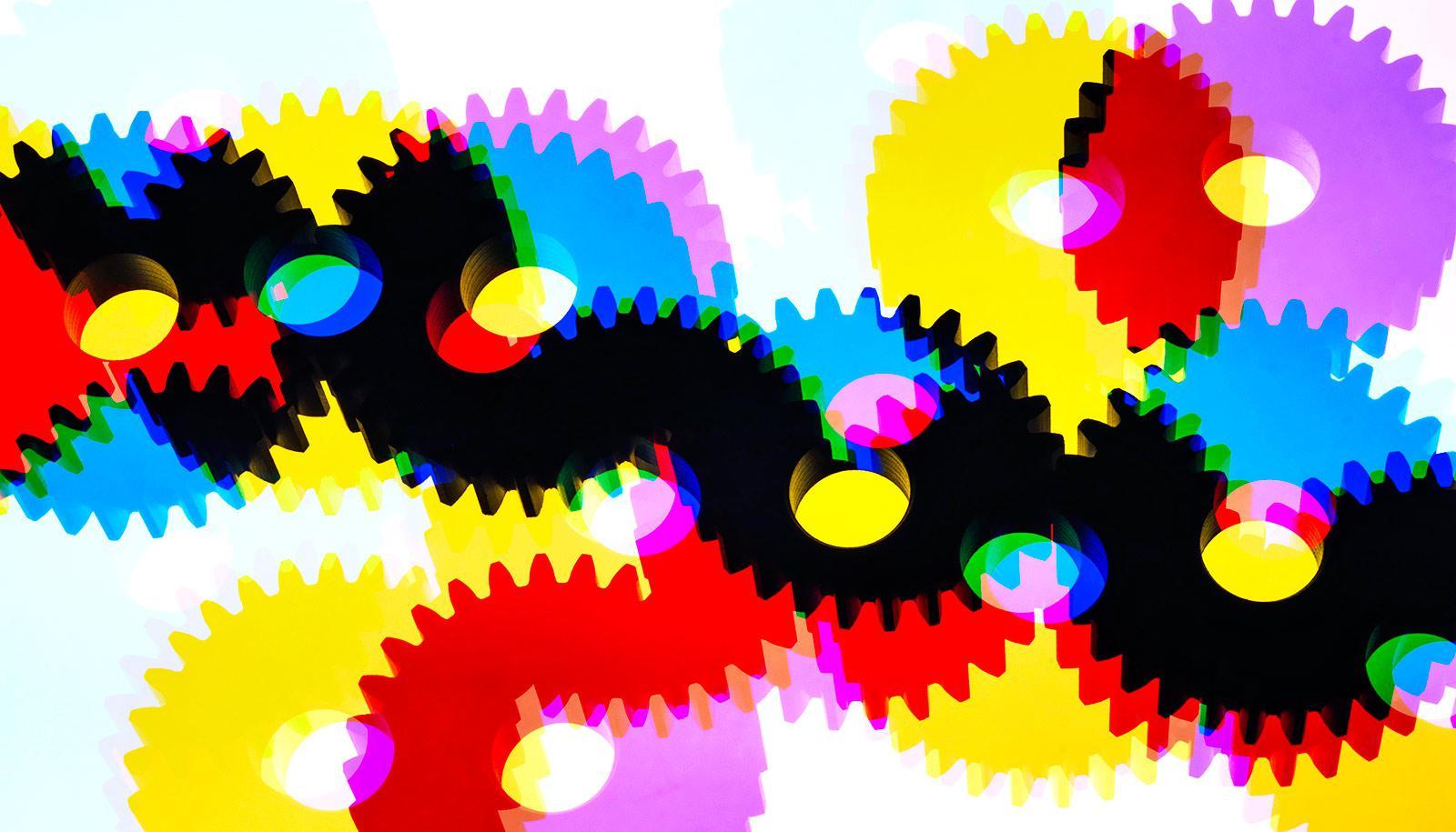colorful gears (antibiotics concept)