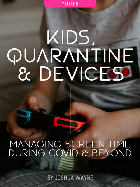 Kids, Quarantine & Devices: Managing Screen Time During COVID and Beyond by Joshua Wayne. Photograph of a child holding a video game controller by Kelly Sikkema.
