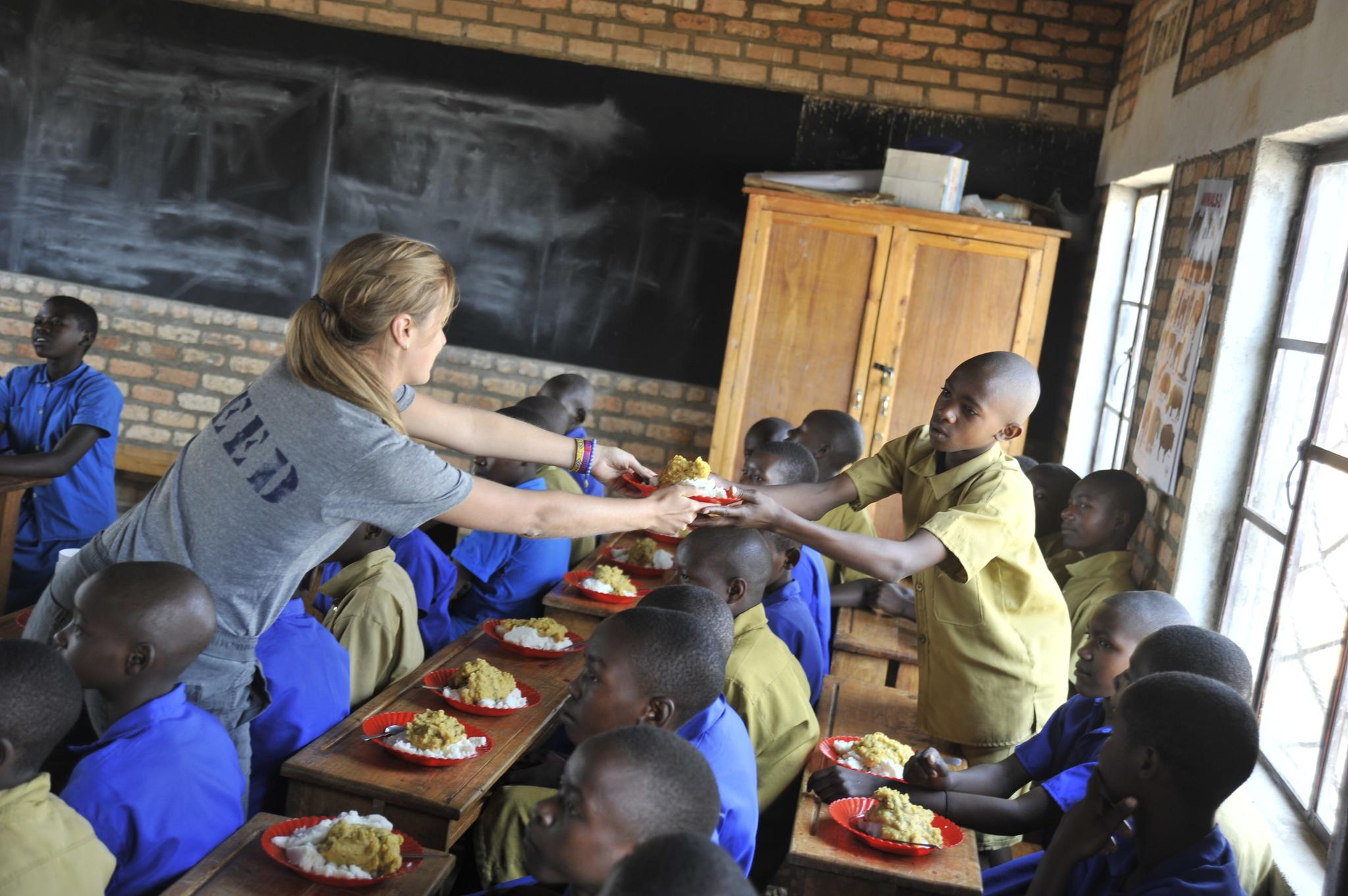 Lauren Bush and FEED team visiting the Muganza Primary School in Muganza, southern Rwanda.