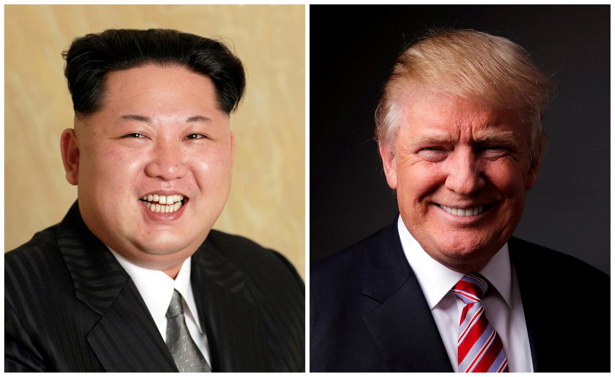 A combination of portraits of North Korean leader Kim Jong Un and of U.S. President Donald Trump.