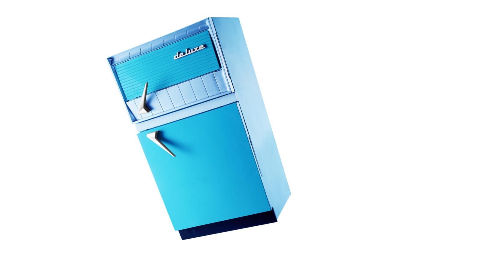 retro blue fridge isolated on white
