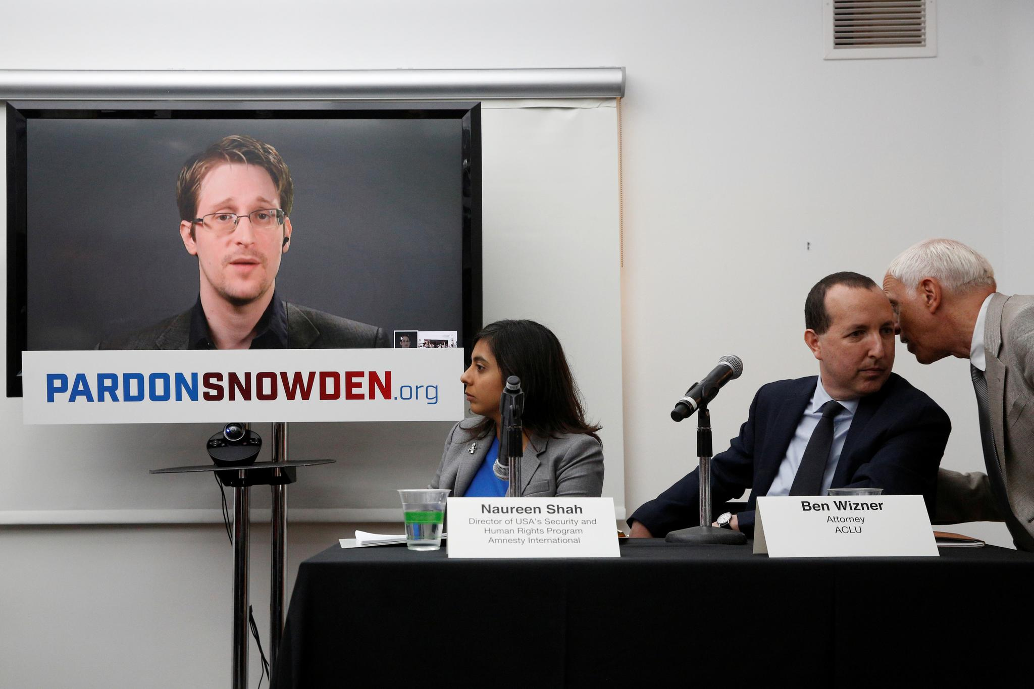 Edward Snowden speaks via video link during a news conference in New York City, on September 14.