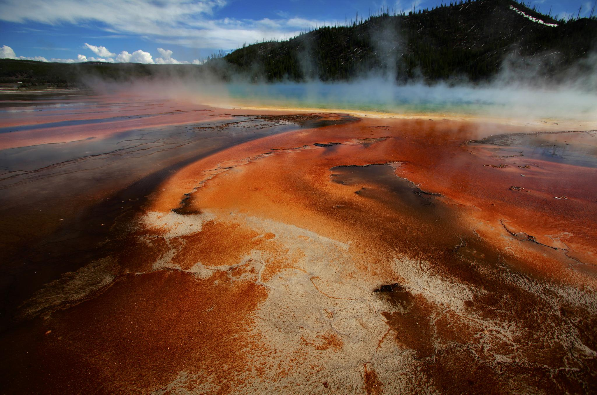 The colored bacteria and microbial mat of Grand Prismatic Spring, the largest in the United States and third largest in the world, in Yellowstone National Park, Wyoming, on June 22, 2011.