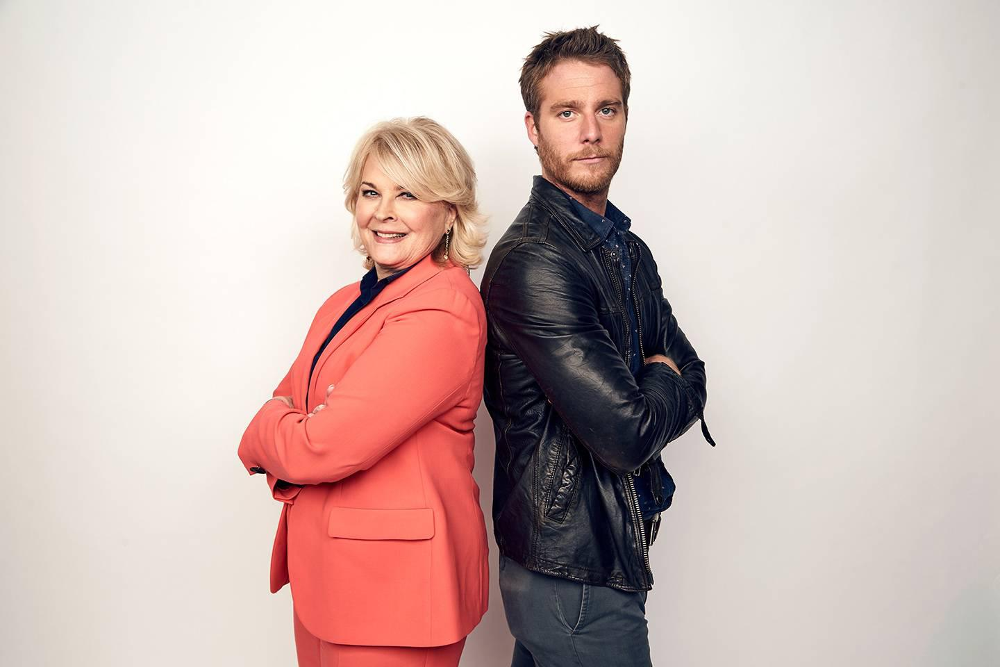 "Candice Bergen, left, as Murphy Brown and Jake McDorman as her son ,Avery, all grown up in the ""Murphy Brown"" revival on CBS."