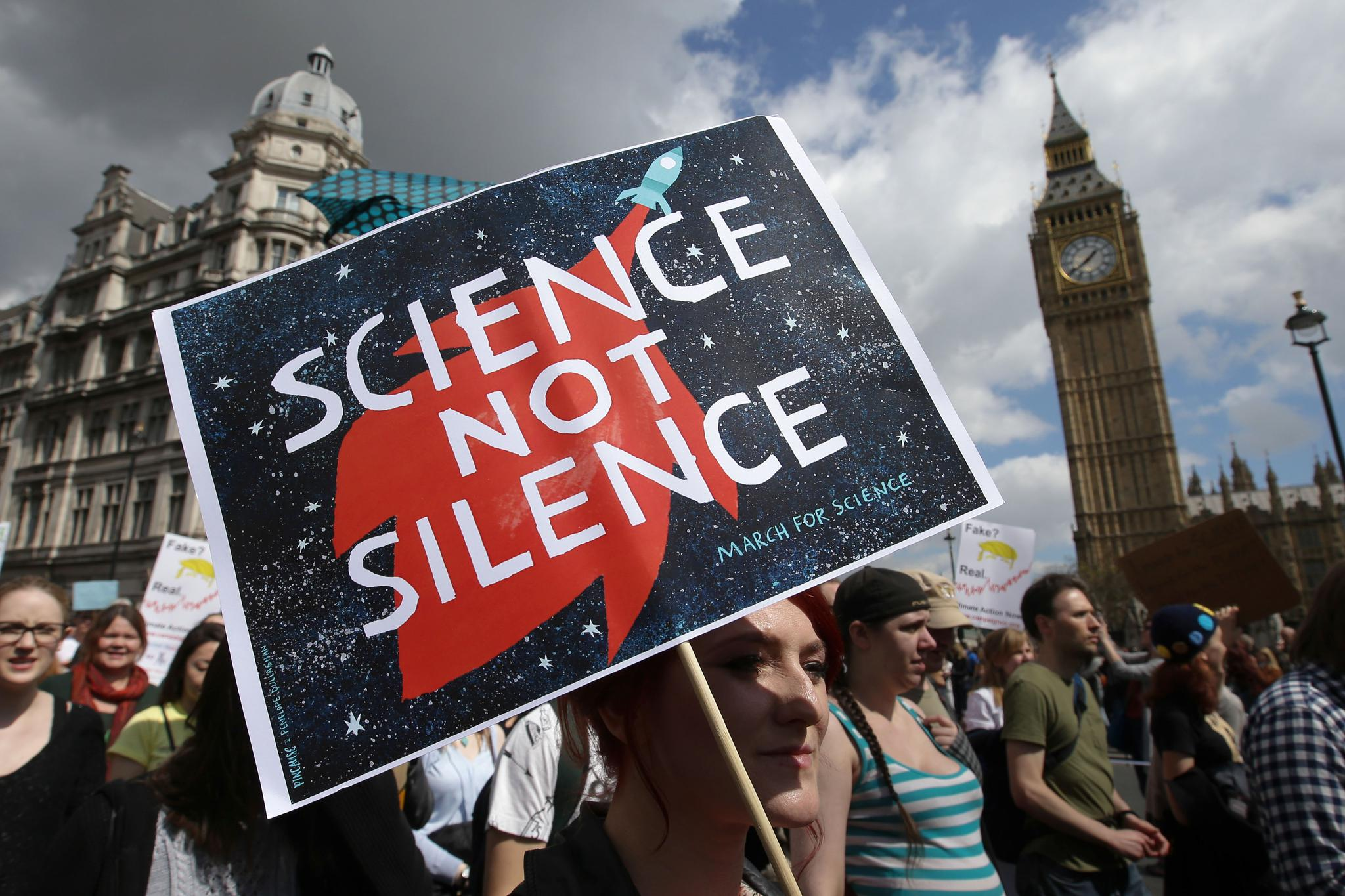 Scientists and science enthusiasts participate in the March for Science in London on April 22, 2017. Since last year's event, dozens of scientists have filed to run in federal, state and local elections in the United States.