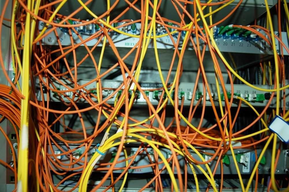 a mess of fiber optic cables