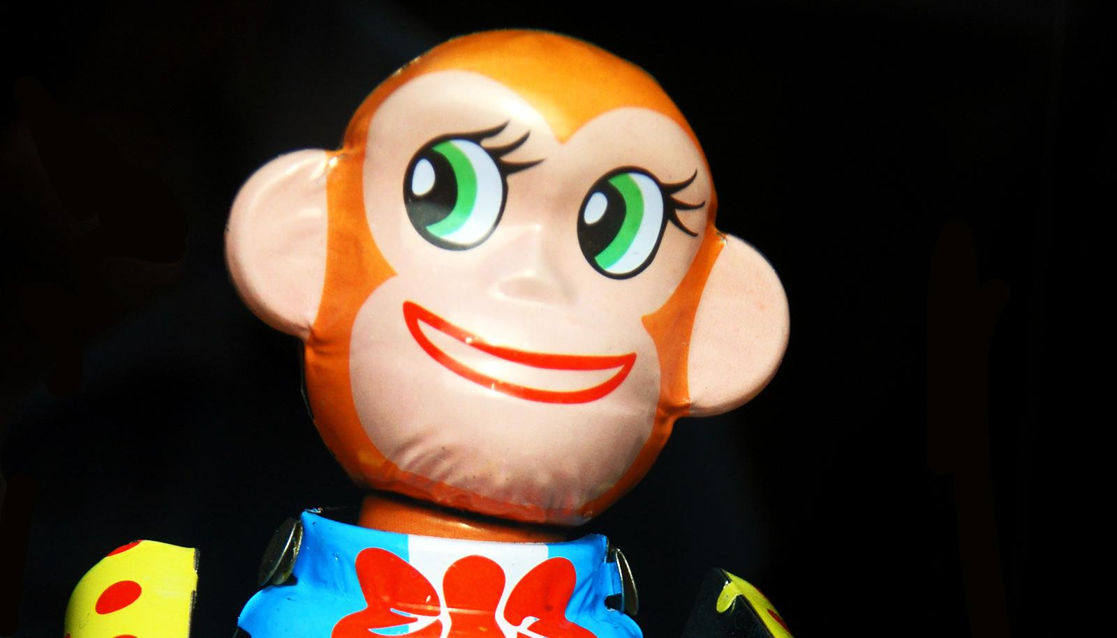 toy monkey looks like it's scheming