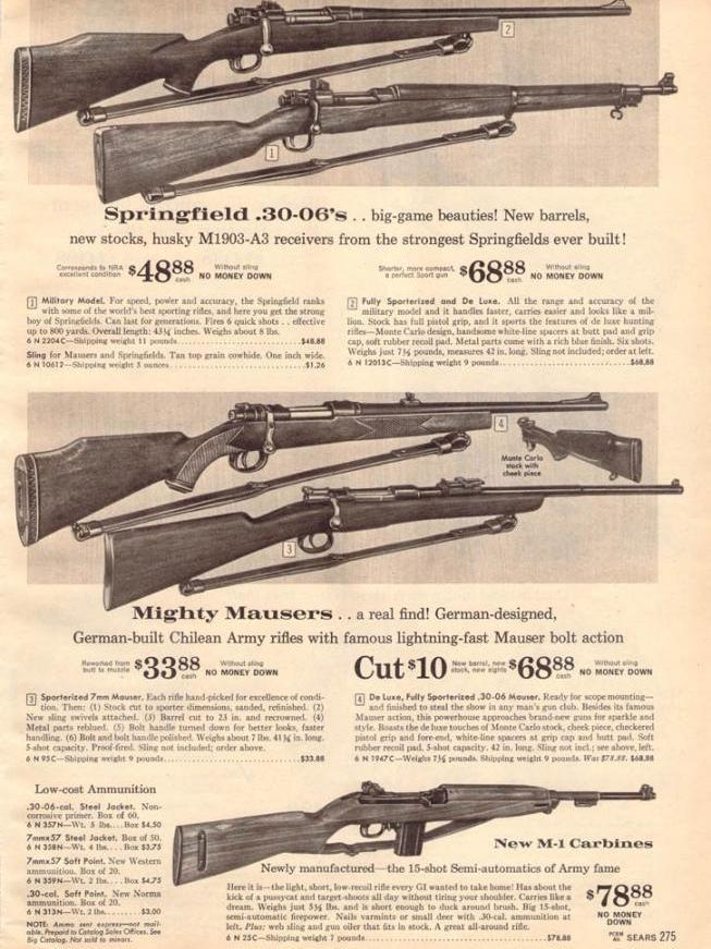 ads for guns in the 1962 sears christmas catalog which features the semiautomatic m1 carbine source sears