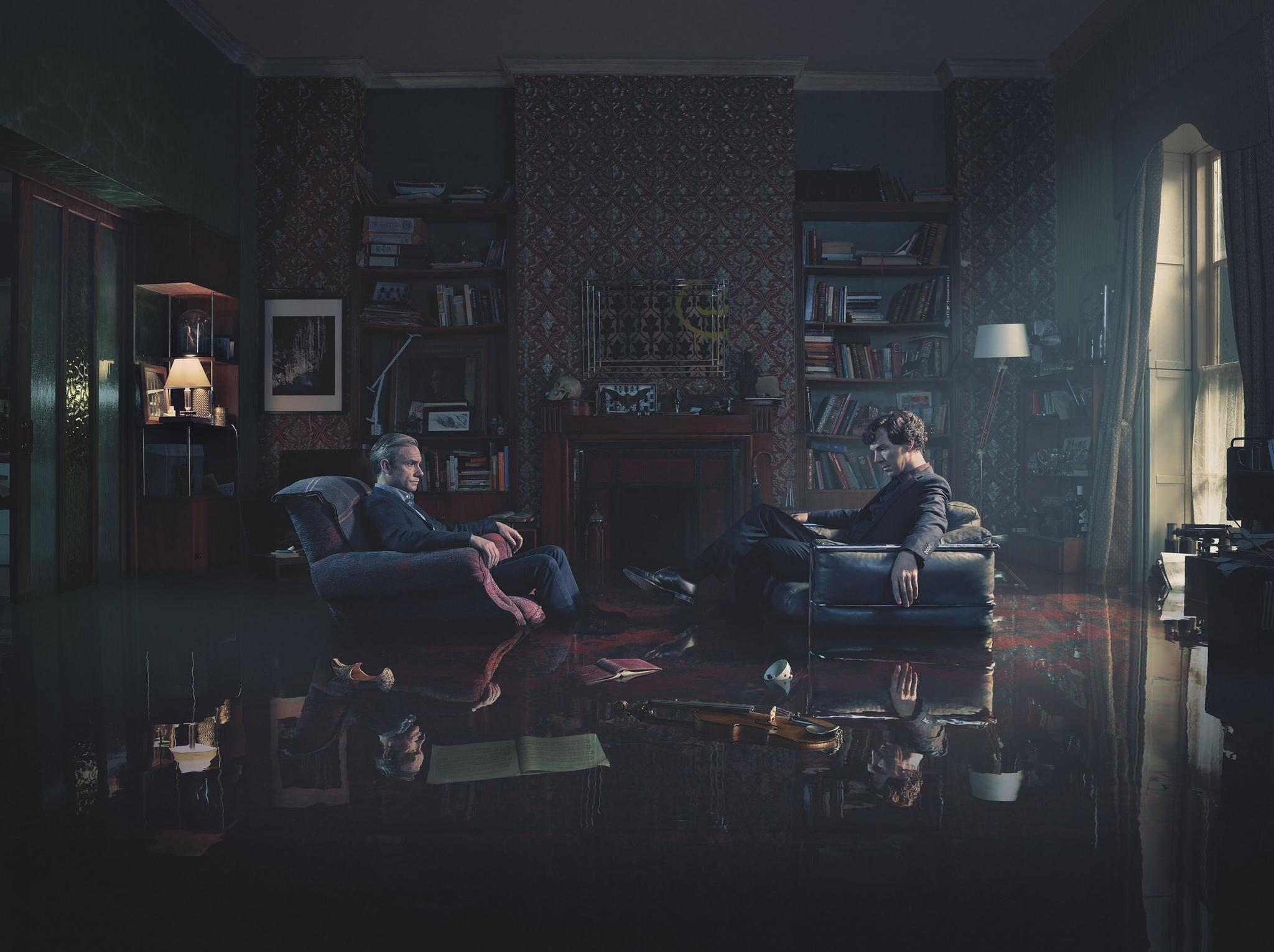 Benedict Cumberbatch and Martin Freeman in Sherlock.