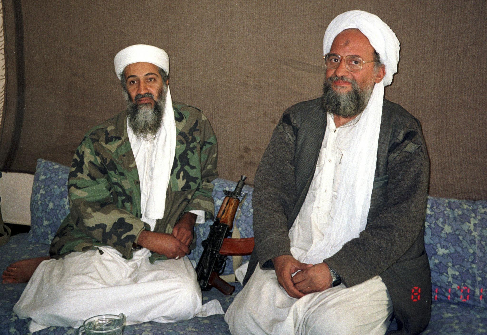 Osama bin Laden, left, sits with his adviser and successor Ayman al-Zawahri, on November 10, 2001. Zawahiri, an Egyptian, is now the head of Al-Qaeda.