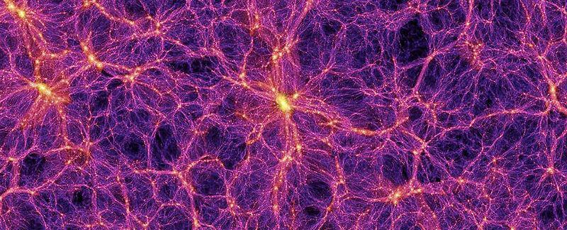 Simulations suggest that galaxies flow together in vast filaments.