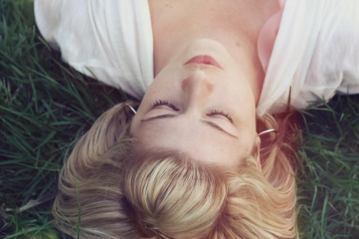 Stress management, photograph of women in grass by Jacob Townsend