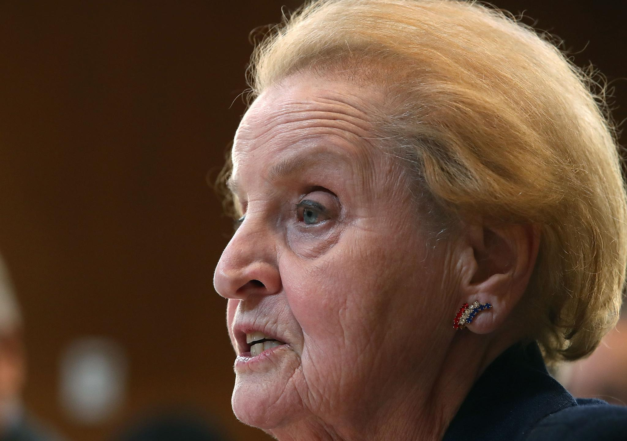 Former Secretary of State Madeline Albright testifies during a Senate Appropriations Committee hearing on Capitol Hill, on May 9, 2017 in Washington, D.C. The committee was hearing testimony on 'United States Democracy Assistance.'