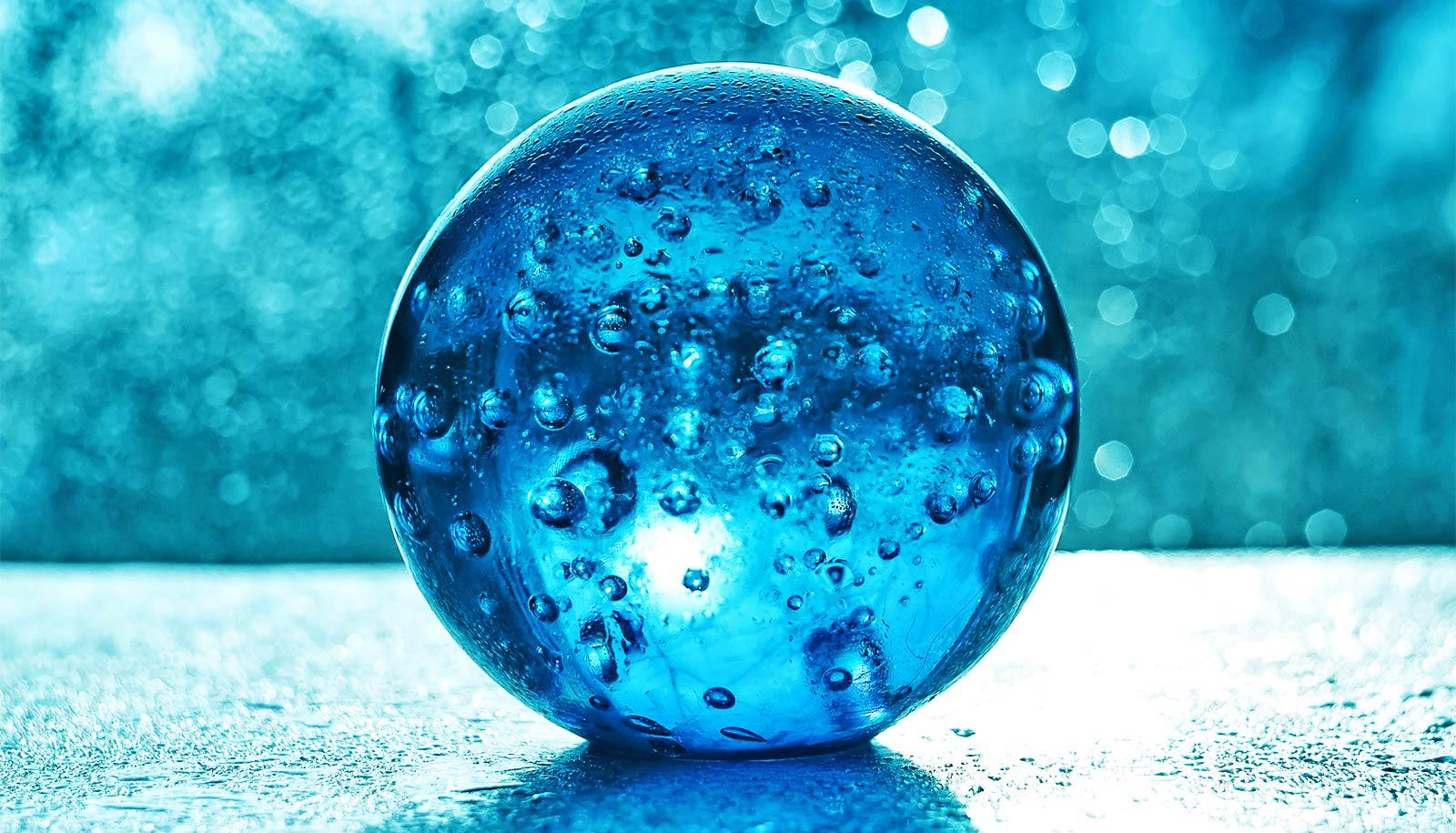 glass ball with bubbles (early Earth concept)