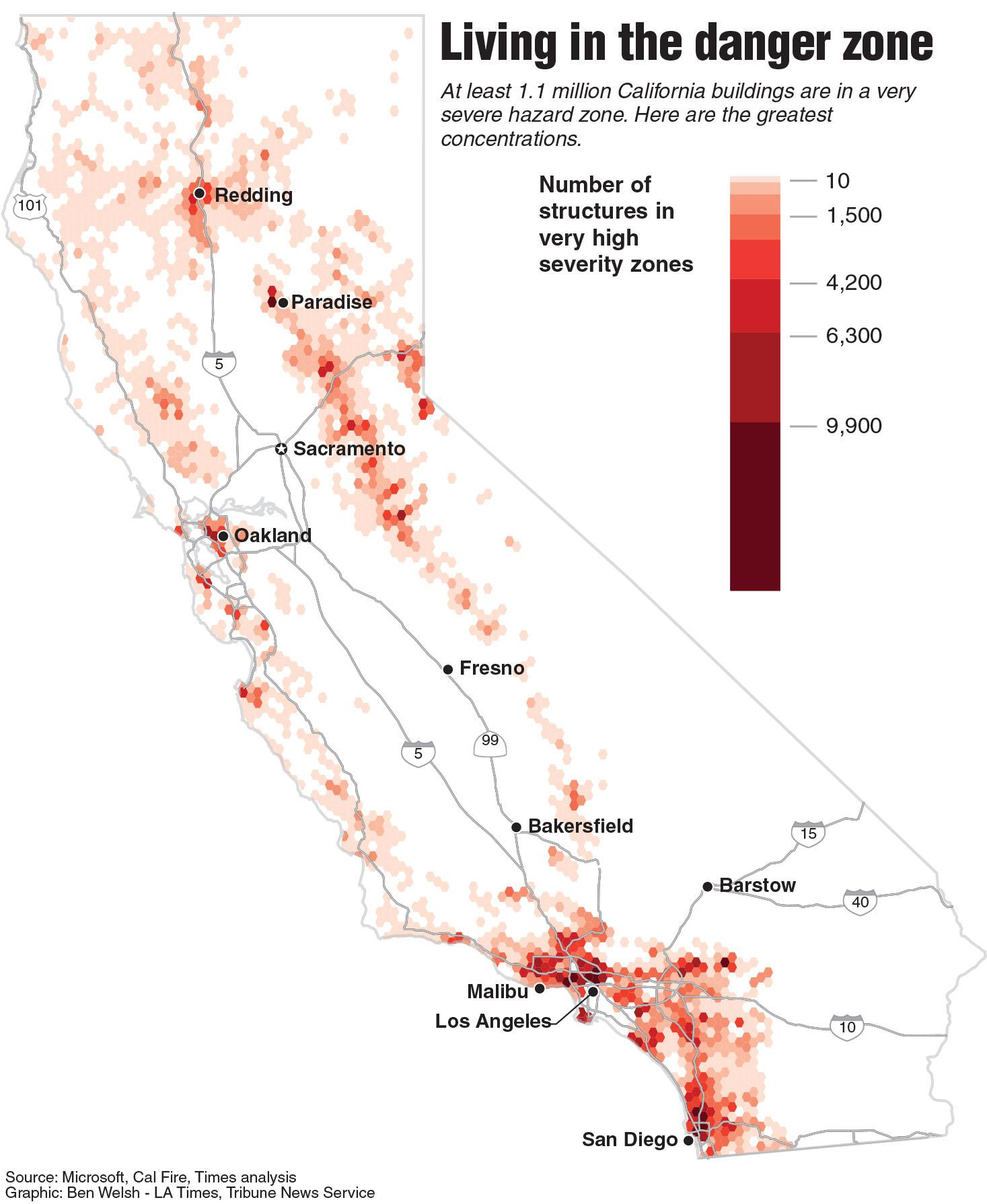a million california buildings face wildfire risk
