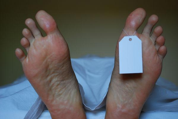 feet in a morgue