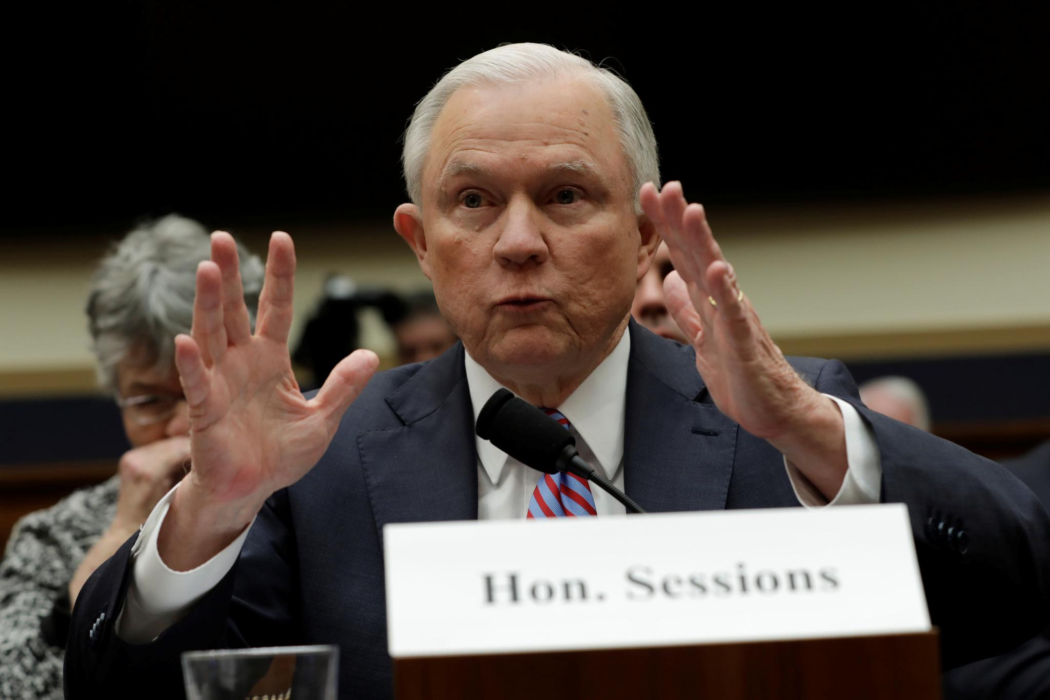 U.S. Attorney General Jeff Sessions testifies before a House Judiciary Committee hearing on oversight of the Justice Department on Capitol Hill in Washington, U.S., November 14, 2017.