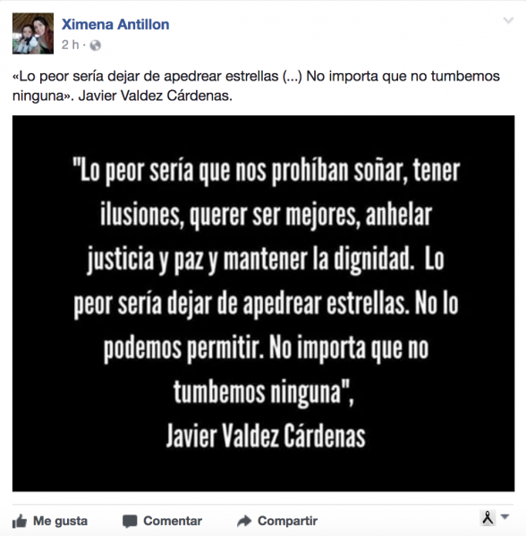 Pantallazo del post público de Ximena Antillón.