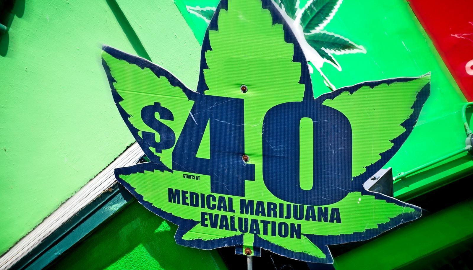medical marijuana evaluation sign