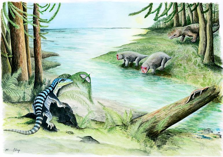 Illustration of three archosaur inhabitants