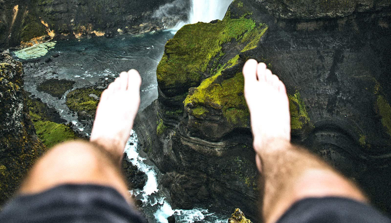 feet above waterfall