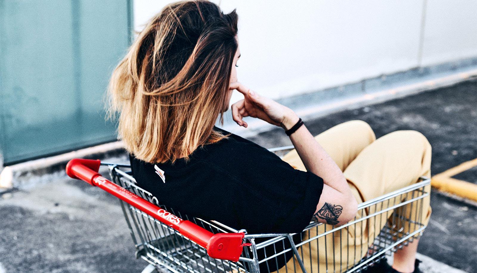 sitting in shopping cart