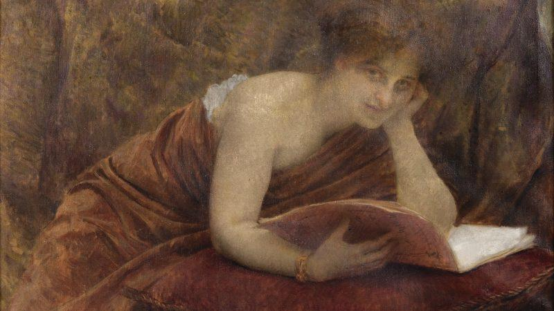 "A woman readin in the painting ""A Moment's Distraction"" by Croatian artist Vlaho Bukovac (1855-1922). Public domain."