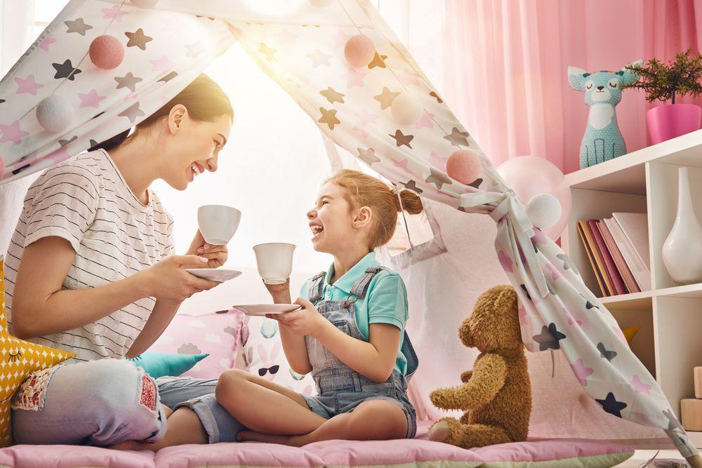 Mom Child Playing Make Believe in Tent Having Tea