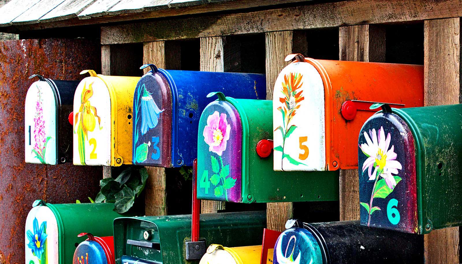 6 brightly painted mailboxes with flowers on the front sit in a row