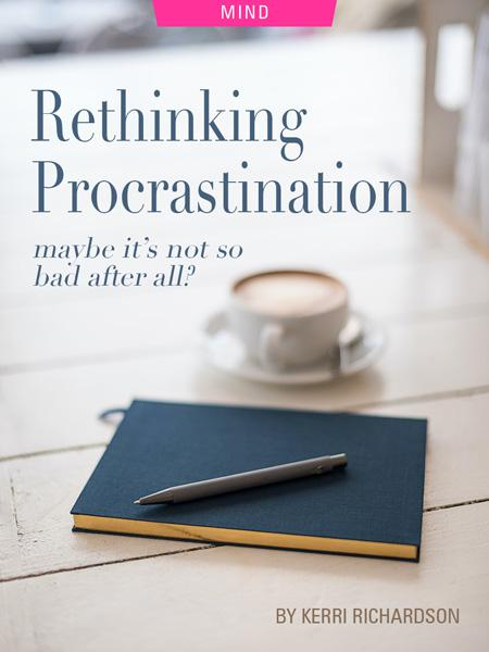 Rethinking Procrastination: Maybe It's Not So Bad After All? by Kerri Richardson. Photograph of journal on table by Bookblock 11