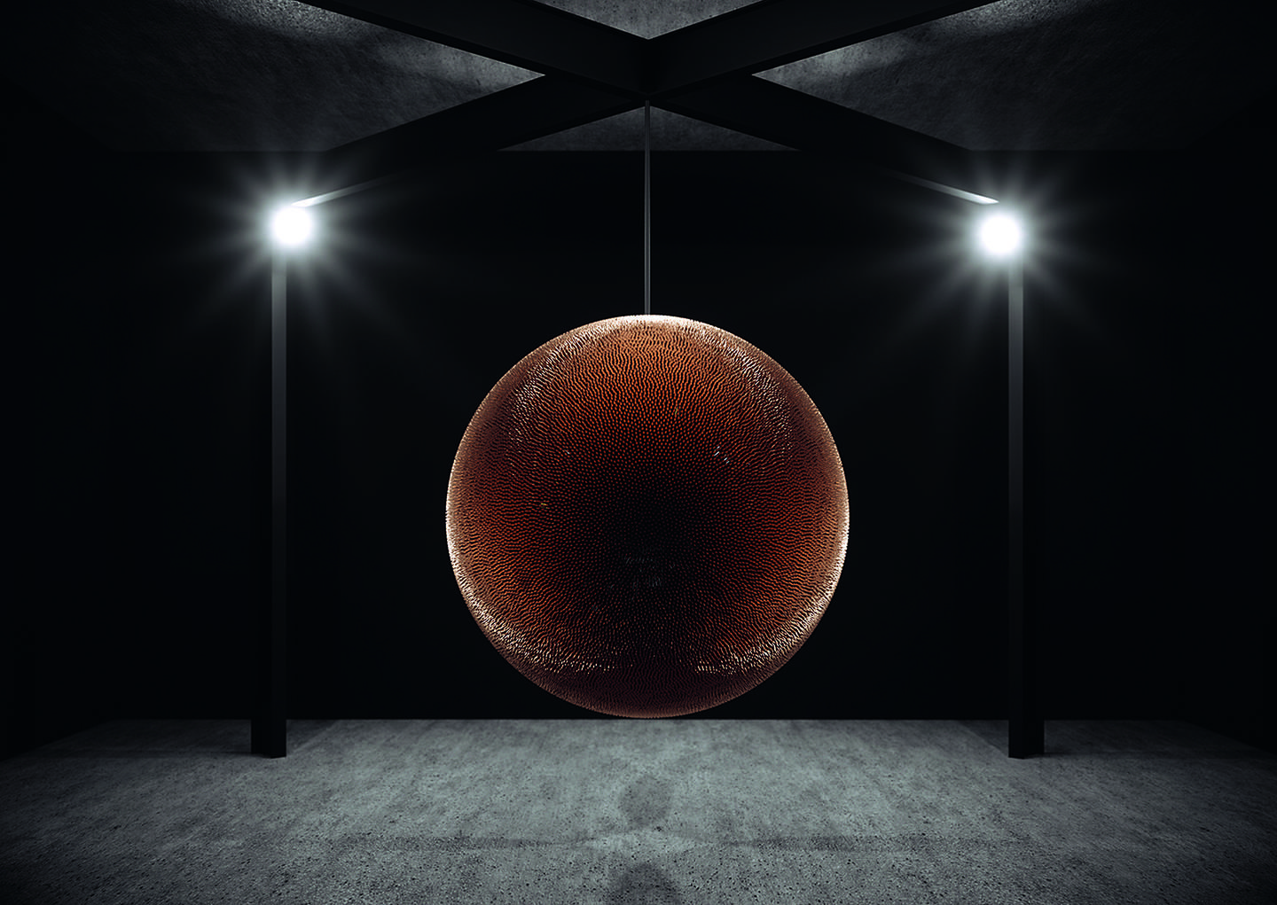 """Robert Longo's """"Death Star,"""" was created from approximately 40,000 inert bullets."""