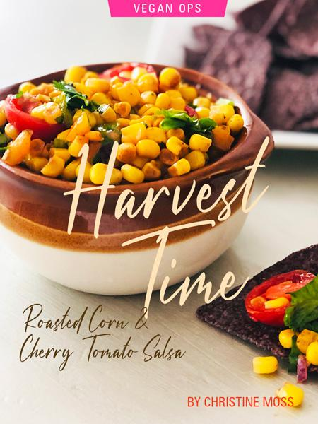 Harvest Time: A Recipe for Roasted Corn & Cherry Tomato Salsa By Chef Christine Moss. Photograph of the salsa, courtesy of Christine Moss.