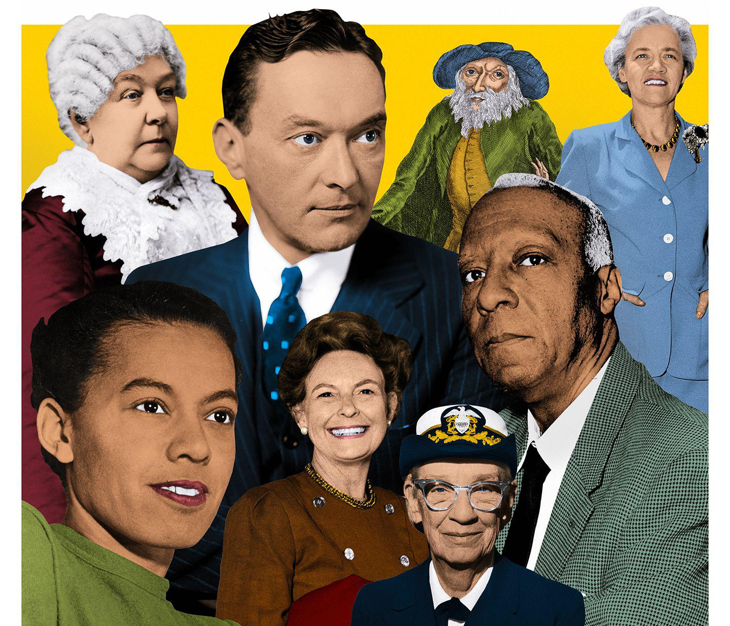 Historian Jill Lepore shines a light on the leaders underserved or overlooked by American history textbooks. Top row, from left: Elizabeth Cady Stanton, Walter Lippmann, Benjamin Lay, Margaret Chase Smith. Bottom row, from left: Pauli Murray, Phyllis Schlafly, Grace Hopper, A. Philip Randolph.