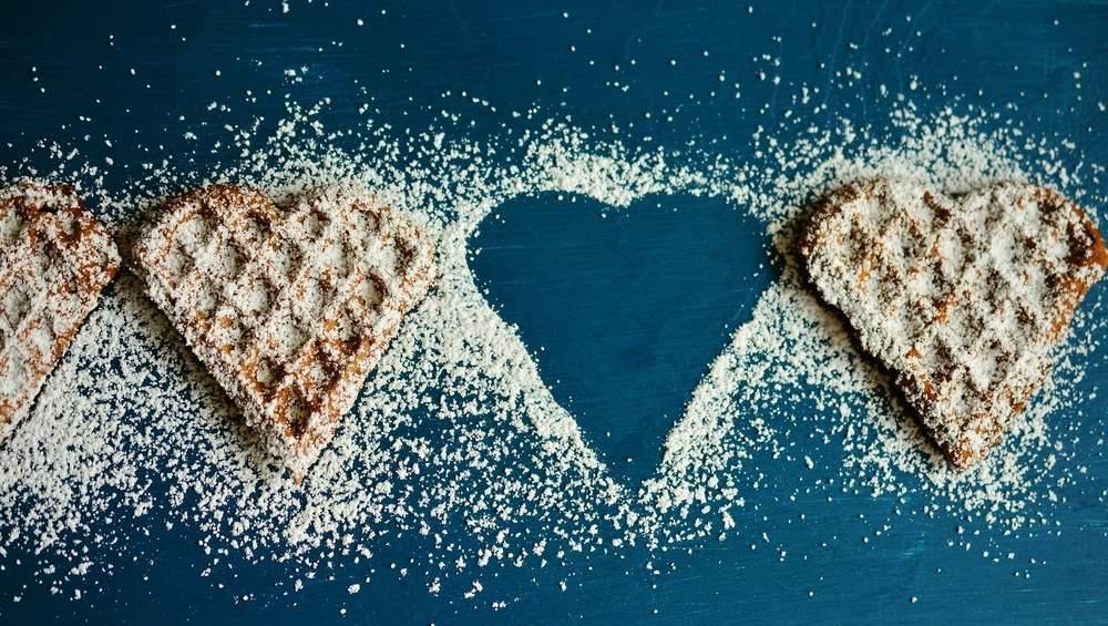 waffle heart sugar