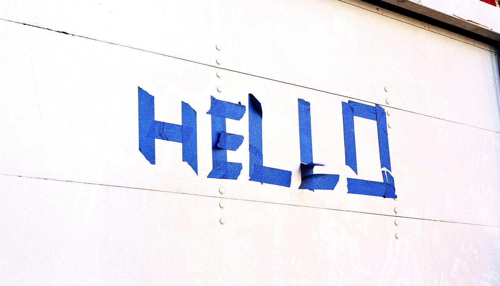 hello on a garage door (DNA data storage concept)