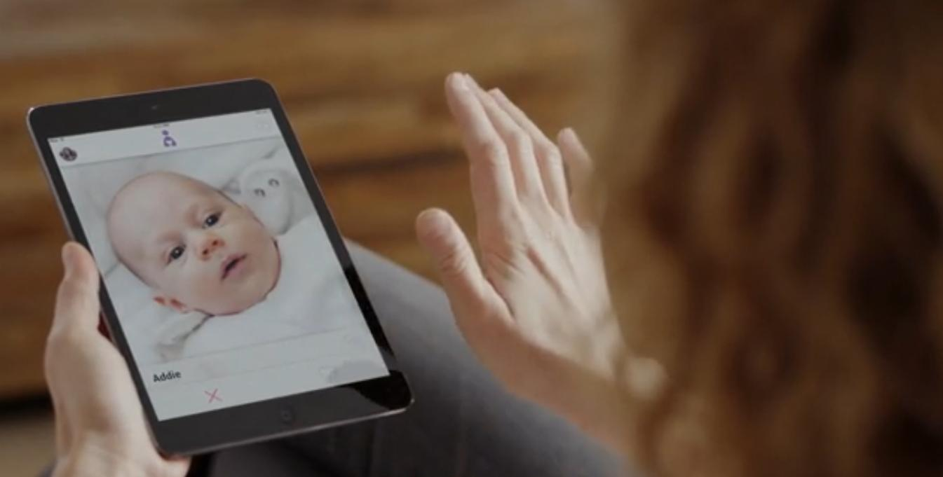 The promo video for a fake app called Adoptly shows a woman swiping on an image of a baby.